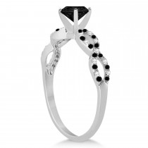 Diamond & Black Diamond Infinity Engagement Ring Platinum 0.96ct