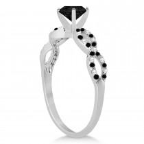 White & Black Diamond Infinity Engagement Ring Platinum 1.65ct