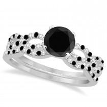 Infinity Style Black Diamond & Diamond Bridal Set 18k White Gold 0.85ct
