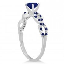 Infinity Diamond & Blue Sapphire Engagement Ring 14K White Gold 1.05ct