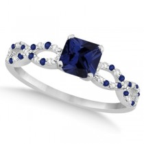 Diamond & Blue Sapphire Princess Infinity Ring 14k White Gold 1.50ct