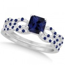 Blue Sapphire & Diamond Princess Infinity Bridal Set 14k W Gold 1.74ct