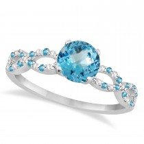 Infinity Diamond & Blue Topaz Engagement Ring 14K White Gold 1.05ct