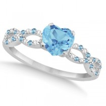 Diamond & Blue Topaz Heart Infinity Engagement 14k White Gold 1.50ct