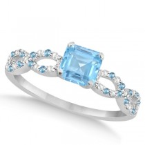 Diamond & Blue Topaz Princess Infinity Engagement 14k W. Gold 1.50ct
