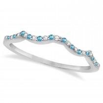 Diamond & Blue Topaz Contour Wedding Band 14K White Gold 0.24ct