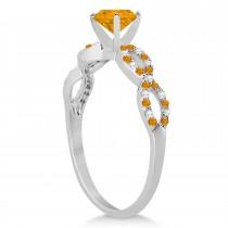 Diamond & Citrine Infinity Engagement Ring 14k White Gold 1.70ct