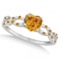 Diamond & Citrine Heart Infinity Engagement Ring 14k White Gold 1.50ct