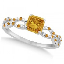 Diamond & Citrine Princess Infinity Engagement Ring 14k W. Gold 1.50ct