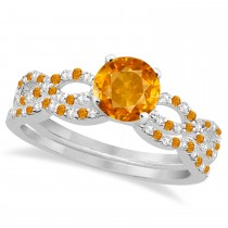 Citrine & Diamond Infinity Style Bridal Set 14k White Gold 1.69ct