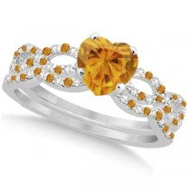 Citrine & Diamond Heart Infinity Style Bridal Set 14k W Gold 1.74ct