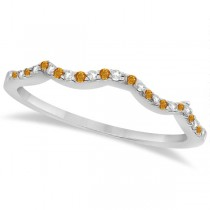 Citrine & Diamond Princess Infinity Bridal Set 14k White Gold 1.74ct
