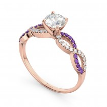 Infinity Diamond & Amethyst Engagement Ring in 14k Rose Gold (0.21ct)