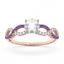 Infinity Diamond & Amethyst Engagement Ring in 18k Rose Gold (0.21ct)
