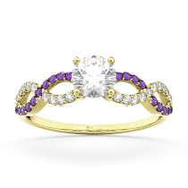 Infinity Diamond & Amethyst Engagement Ring in 18k Yellow Gold (0.21ct)