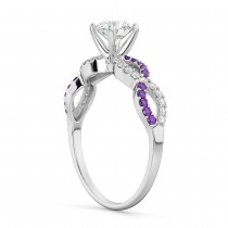 Infinity Diamond & Amethyst Gemstone Engagement Ring Palladium 0.21ct