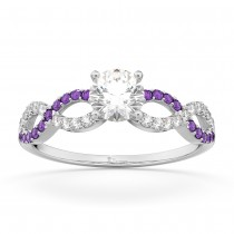 Infinity Diamond & Amethyst Gemstone Engagement Ring Platinum (0.21ct)
