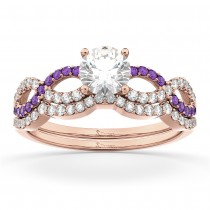 Infinity Diamond & Amethyst Engagement Ring Set 14k Rose Gold 0.34ct