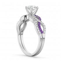 Infinity Diamond & Amethyst Engagement Ring Set 14k White Gold 0.34ct