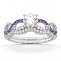 Infinity Diamond & Amethyst Engagement Ring Set 18k White Gold 0.34ct