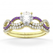 Infinity Diamond & Amethyst Engagement Ring Set 18k Yellow Gold 0.34ct