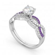 Infinity Diamond & Amethyst Engagement Bridal Set in Platinum (0.34ct)
