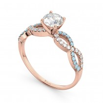 Infinity Diamond & Aquamarine Engagement Ring in 14k Rose Gold (0.21ct)