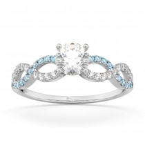 Infinity Diamond & Aquamarine Engagement Ring in 14k White Gold (0.21ct)