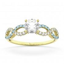 Infinity Diamond & Aquamarine Engagement Ring in 18k Yellow Gold (0.21ct)