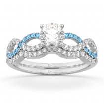 Infinity Diamond & Aquamarine Engagement Ring Set 14k White Gold 0.34ct