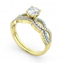 Infinity Diamond & Aquamarine Engagement Ring Set 14k Yellow Gold 0.34ct