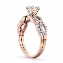 Infinity Diamond & Aquamarine Engagement Ring Set 18k Rose Gold 0.34ct
