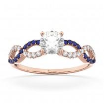 Infinity Diamond & Blue Sapphire Engagement Ring 14k Rose Gold 0.21ct
