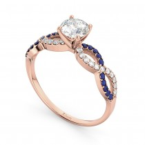 Infinity Diamond & Blue Sapphire Engagement Ring 14k Rose Gold 0.21ct