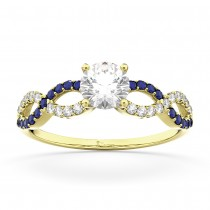 Infinity Diamond & Blue Sapphire Engagement Ring 14K Yellow Gold 0.21ct