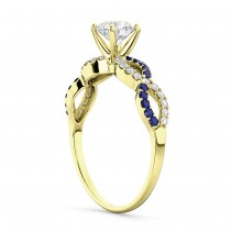 Infinity Diamond & Blue Sapphire Engagement Ring 18K Yellow Gold 0.21ct