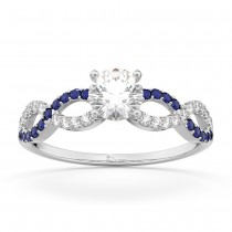 Infinity Diamond & Blue Sapphire Engagement Ring Palladium 0.21ct