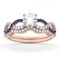 Infinity Diamond & Blue Sapphire Bridal Set 14k Rose Gold 0.34ct