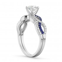 Infinity Diamond & Blue Sapphire Bridal Set 14K White Gold 0.34ct