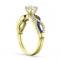 Infinity Diamond & Blue Sapphire Bridal Set in 14K Yellow Gold 0.34ct