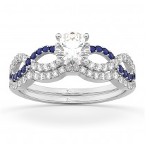 Infinity Diamond & Blue Sapphire Ring Bridal Set in platinum 0.34ct