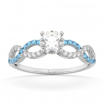 Infinity Diamond & Blue Topaz Engagement Ring in 14k White Gold (0.21ct)