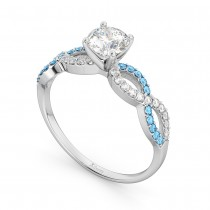 Infinity Diamond & Blue Topaz Gemstone Engagement Ring Palladium 0.21ct