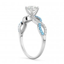 Infinity Diamond & Blue Topaz Gemstone Engagement Ring Platinum (0.21ct)