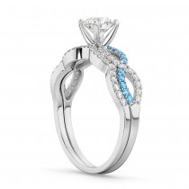 Infinity Diamond & Blue Topaz Engagement Ring Set 18k White Gold 0.34ct
