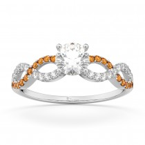 Infinity Diamond & Citrine Engagement Ring in 18k White Gold (0.21ct)