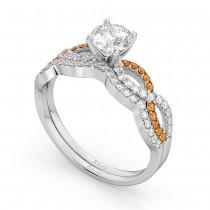 Infinity Diamond & Citrine Engagement Bridal Set in Platinum (0.34ct)
