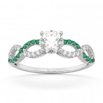 Infinity Diamond & Emerald Engagement Ring in 14k White Gold (0.21ct)