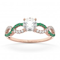 Infinity Diamond & Emerald Engagement Ring in 18k Rose Gold (0.21ct)