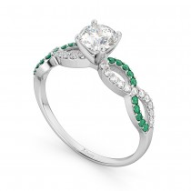 Infinity Diamond & Emerald Engagement Ring in 18k White Gold (0.21ct)